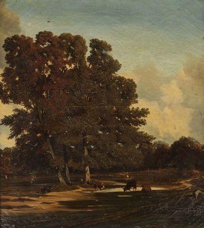 Attribué à Jules DUPRE (1811 - 1889)  Vaches...