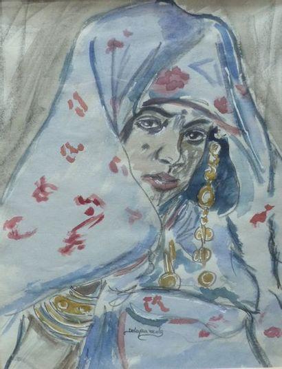 Gaston DELAPAREDE (1908-1955)  Femme au voile...