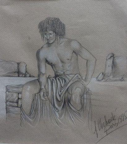A.CHEHADE  - Homme assis  Crayon sur papier...