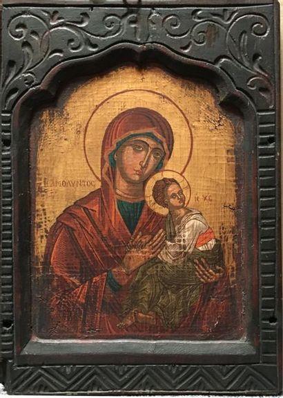 Icône  Vierge à l'enfant  44,5 x 31,5 cm