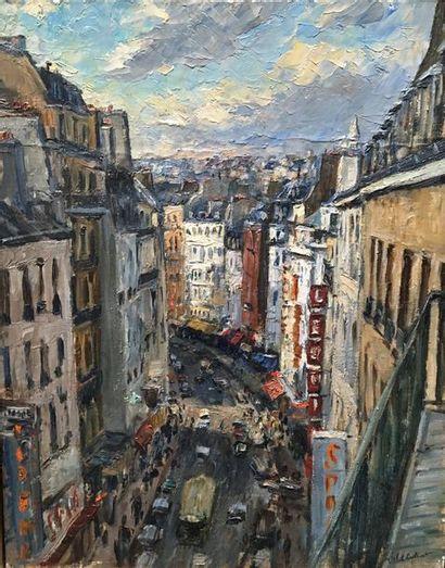 Miel GILILOT (?)  Rue de Paris  Huile sur...