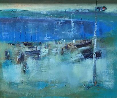 Plage et bateaux au mouillage  Huile sur...