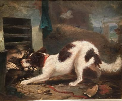 Le chien dans le poulailler  Huile sur toile...