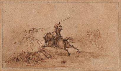 Attribué à James STEWART  Charge de cavalerie...