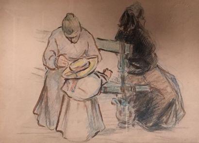 Emilio BOGGIO (1857-1920)  Femmes et enfant...