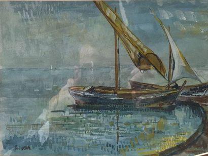 Attribué à Paul LEDUC (1876-1943)  Bateau...