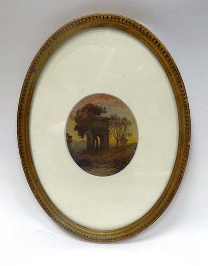 Auguste RAVIER  Paysage à Rome arc antique...