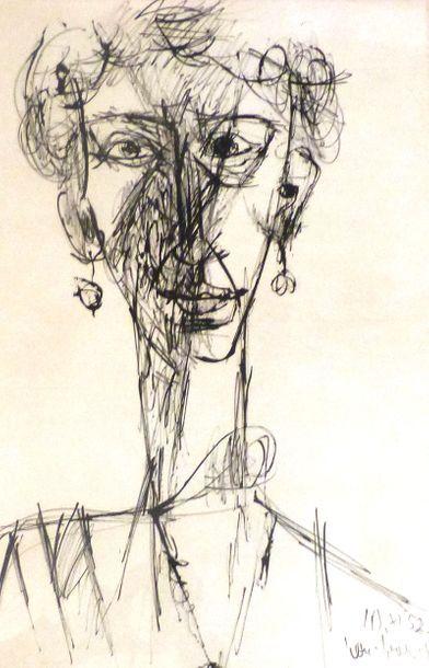 Trois dessins encadrés de David LAN-BAR (1912-1987)...