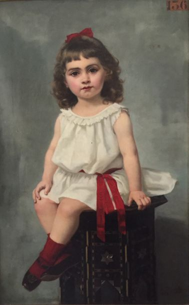 Francine CHARDERON  Petit fille au tabouret...