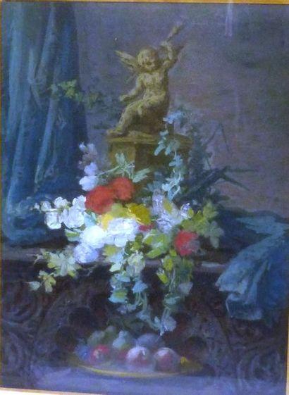 École Française du XVIIIème  Bouquet fleuri...