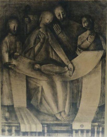 FORNIER (Actif au XXème siècle)  Scène religieuse...