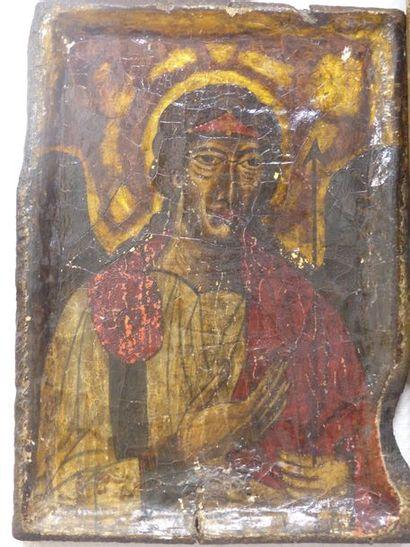 Icône byzantine repésentant un saint polychrome...