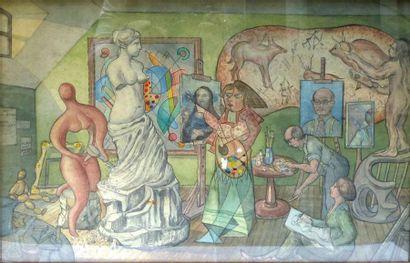 Ecole Contemporaine  Scène cubiste ou allégorie...