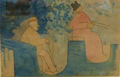 Sacha GUITRY (1885-1957)  En calèche  Aquarelle...