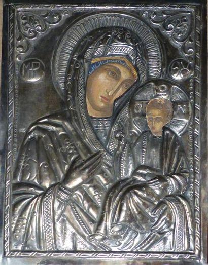 * Vierge à l'Enfant  Riza en argent  Fin...