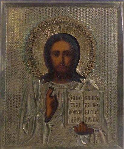 *Christ Pantocrator  Riza en cuivre argenté...