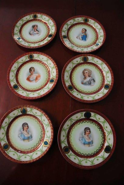 6 assiettes   x Napoleon Teller Durchmesser: 17cm Neo Empire (DSC 1964-1965)  Porcelein...
