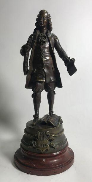 S. KINSBURGER  Musicien Rameau, groupe en bronze à patine brune signée sur la terrasse...