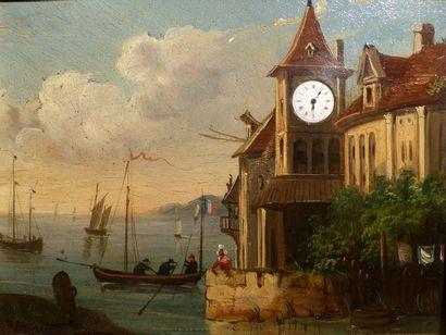 Tableau-horloge d'un paysage animé de barques...