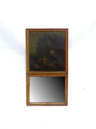 Miroir de trumeau dans un cadre en bois et...