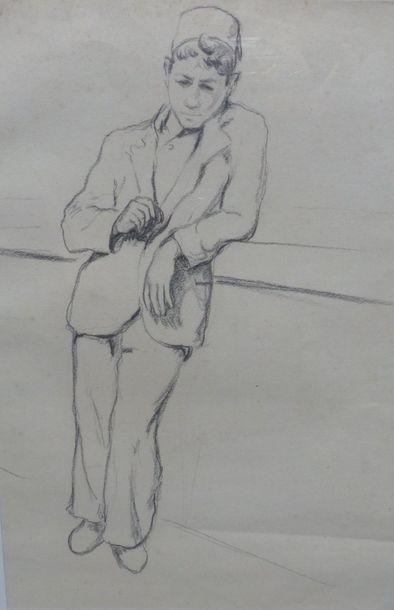 Camille LEROY (1905-1995)  Homme accoudé...