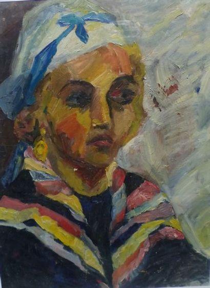 Camille LEROY (1905-1995)  Femme au foulard...