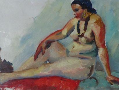Camille LEROY (1905-1995)  Nue  Gouache sur...