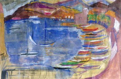 Simone BELLET (1901-1990)  Plage  Technique...