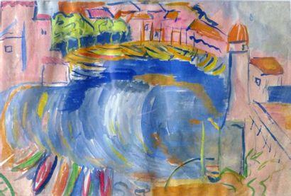 Simone BELLET (1901-1990)  Vue du port  Technique...