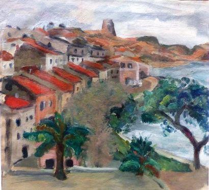 Simone BELLET (1901-1990)    - Vue du rivage...