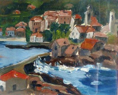 Simone BELLET (1901-1990)   - Le barage  Gouache...