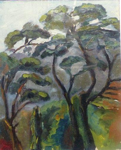 Simone BELLET (1901-1990)    - Les pins  Gouache...