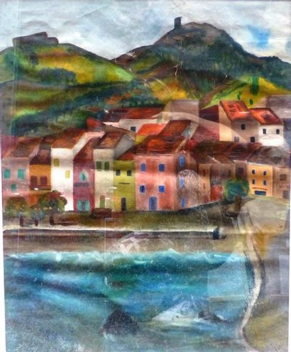 Simone BELLET (1901-1990)  Vue du rivage...