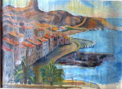 Simone BELLET (1901-1990)  La baie au palmier...
