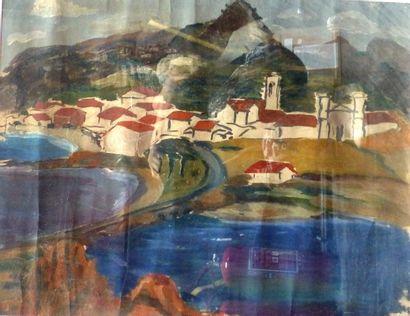 Simone BELLET (1901-1990)  Le barage  Gouache...