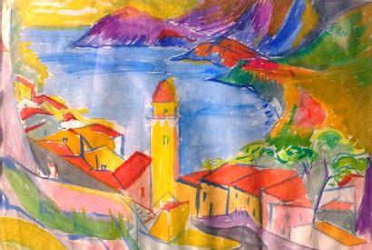 Simone BELLET (1901-1990)  Village  Aquarelle...
