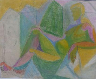 Simone BELLET (1901-1990)  Nue  Pastel gras...