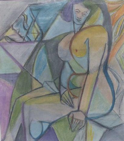 Simone BELLET (1901-1990)  Nue assis  Pastel...