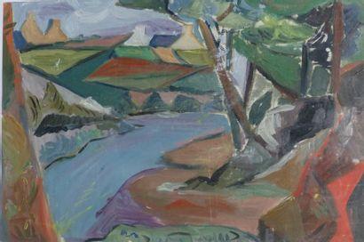 Simone BELLET (1901-1990)  Paysage à la rivière...