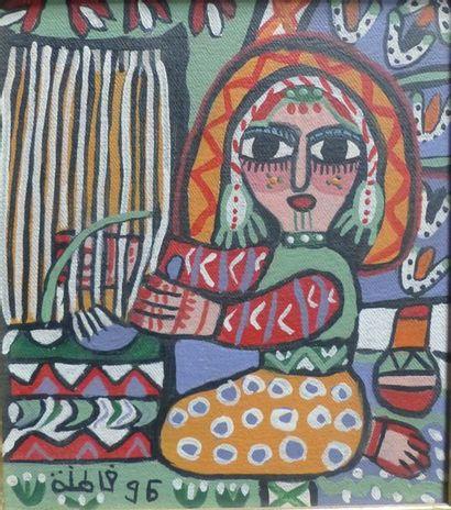 Fatna GBOURI (1924-2012)  La tisseuse  Huile...
