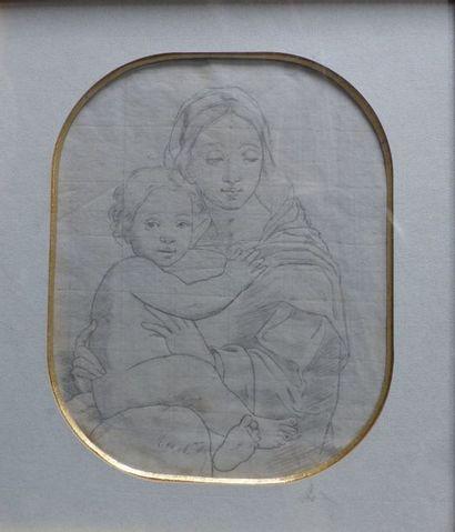 Ecole ITALIENNE  Vierge à l'enfant  Crayon...