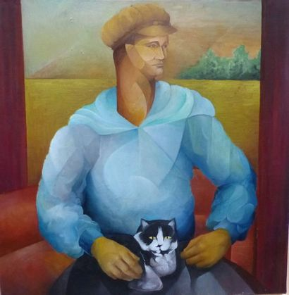 Hector PASCUAL (1928-2014)  Homme au chat...
