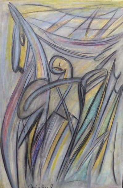 Edgar STOEBEL (1909-2001)  Le cavalier  Technique...