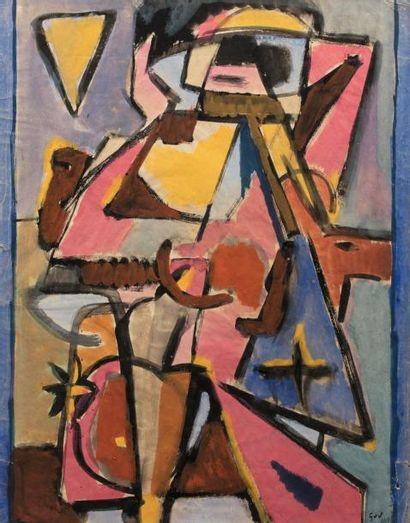 Geer Van VELDE (1898-1977) Composition Gouache sur papier monogrammé en bas à droite...