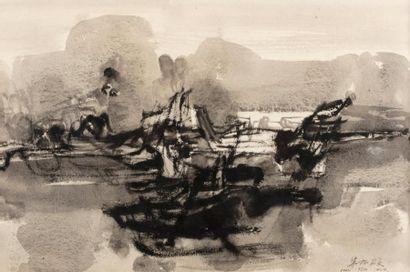CHU TEH-CHUN (1920-2014) Sans titre, 1961 Gouache sur papier signé en bas à droite,...