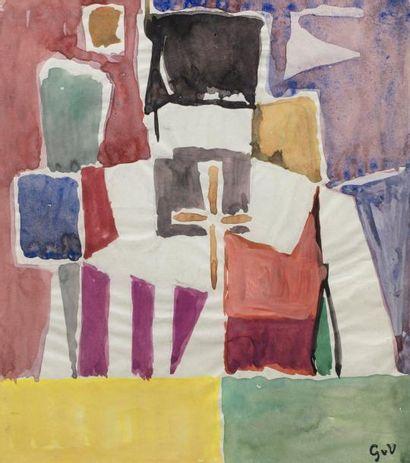 Geer Van VELDE (1898-1977)  Composition  Gouache sur papier monogrammé en bas à...