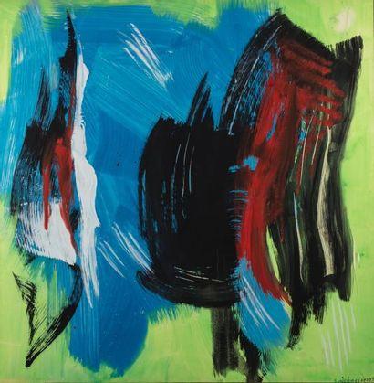 Gérard SCHNEIDER (1896-1986)  Sans titre, 1985  Acrylique sur papier, marouflé sur...