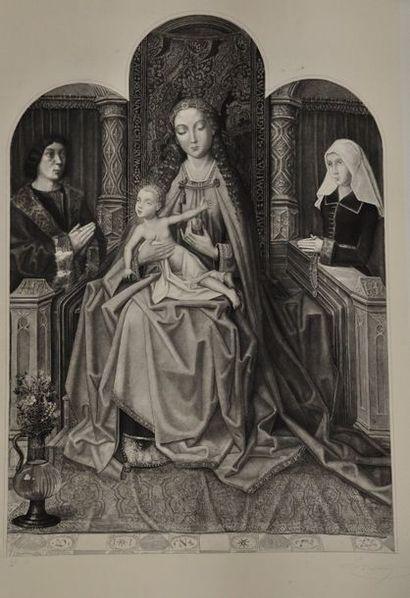 Ensemble de 9 gravures en noir sur le thème religieux comprenant :  -Abel JAMAS...