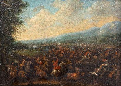 Attribué à Jacques Courtois dit le Bourguignon (1621-1676)  Scène de bataille  Huile...