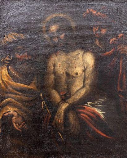 Christ  Huile sur toile  (rentoilé)  60 x...